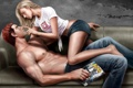 Картинка девушка, ноги, шорты, рыжий, блондинка, парень, art