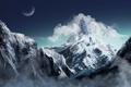 Картинка облака, снег, горы, замок, луна