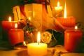 Картинка огонь, подарок, шары, новый год, свеча, свечи, колокольчик