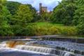 Картинка лес, деревья, парк, река, замок, Англия, башня