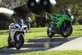 Картинка белый, зеленый, green, мотоциклы, white, суперспорт, yamaha