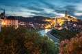Картинка город, огни, река, весна, вечер, Чехия, Český Krumlov