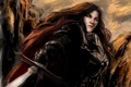 Картинка взгляд, девушка, оружие, фантастика, волосы, меч, арт