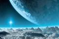 Картинка облака, пейзаж, горы, звезда, планета, сооружение, Titanfall