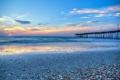 Картинка волны, пляж, небо, облака, закат, океан, ракушки
