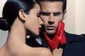 Картинка женщина, мужчина, красные перчатки