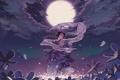 Картинка девушка, цветы, ночь, танец, аниме