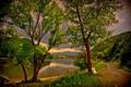 Картинка деревья, пейзаж, природа, река, HDR, Венгрия, Dеdestapolcsаny
