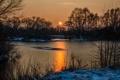 Картинка лед, лес, снег, закат, озеро