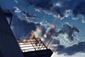 Картинка небо, девушка, облака, закат, арт, vocaloid, сидит