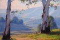 Картинка пейзаж, Австралия, кенгуру, artsaus, деревья, дорога, природа