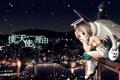 Картинка небо, девушка, снег, город, огни, река, гитара
