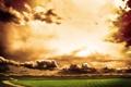Картинка дорога, поле, небо, облака, природа, пути, путь