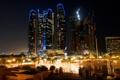 Картинка city, night, Etihad, UAE, Dhabi, Abu, Towers.