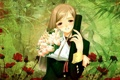 Картинка девушка, цветы, улыбка, букет, слезы, форма, taka tony