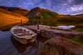 Картинка закат, облака, небо, сноудония, горы, лодка, озеро