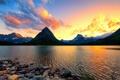Картинка облака, закат, горы, озеро, камни