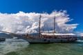 Картинка море, облака, город, фото, лодка, корабль, катер