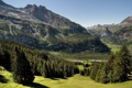 Картинка summer, mountains, trees, rocks, grass
