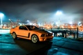Картинка ночь, огни, жёлтый, Mustang, Ford, Форд, Мустанг