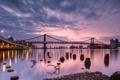 Картинка закат, мост, город, река, США