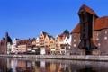 Картинка небо, река, дома, залив, набережная, польша, gdansk