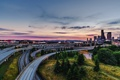 Картинка закат, мост, город, Сиэтл, США