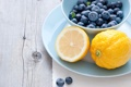 Картинка ягоды, черника, тарелка, фрукты, цитрусы, лимоны