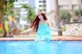 Картинка азиатка, девушка, вода, лето