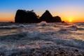 Картинка закат, остров, прибой, солнце, море