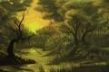 Картинка лес, деревья, закат, река, ручей, камни, чаща