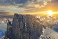 Картинка солнце, облака, горы
