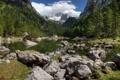 Картинка лес, камни, горы, озеро, небо