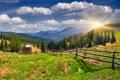 Картинка трава, солнце, горы, деревня, nature, луга, countryside