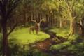Картинка олень, лес, река, маска, арт, зелень, нарисованный пейзаж