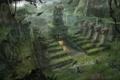 Картинка трава, листья, деревья, драконы, джунгли, храм, ловушка