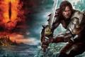 Картинка замок, огонь, дракон, меч, кольцо, fire, sword