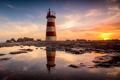 Картинка море, небо, пейзаж, маяк, sunset, portugal, povoa