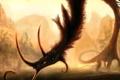 Картинка замок, лес, монстр, морда, шея, арт, дракон