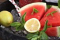 Картинка лимон, арбуз, фрукты, мята
