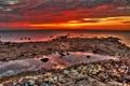 Картинка море, небо, облака, камни, берег, отлив, hdr