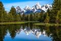 Картинка небо, снег, деревья, горы, озеро, отражение, река