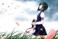 Картинка девушка, птицы, ветер, аниме, лепестки