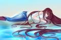 Картинка вода, девушка, джинсы, сапоги, аниме, длинные волосы