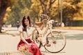 Картинка девушка, велосипед, улыбка