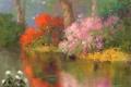Картинка цветы, природа, гладь, отражение, река, арт, кусты