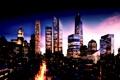 Картинка night, light, ночь, огни, город, city, манхэттан