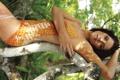 Картинка лето, девушка, дерево, джунгли, Боди-арт, Ashley Green