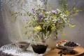 Картинка цветы, чай, ромашки, букет, натюрморт, смородина, варенье