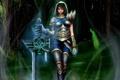 Картинка лес, девушка, меч, арт, капюшон, вихри, League of Legends